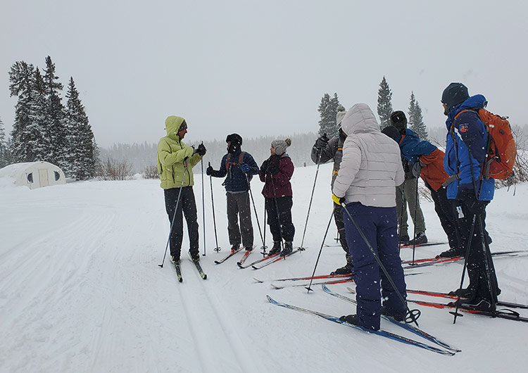 CMU students during a group cross country lesson with GMNC ski instructor at County Line trail system on Grand Mesa in western Colorado.