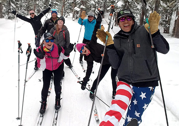 Group of cross country skiers near the warming hut on GMNC trails at Skyway on Grand Mesa.