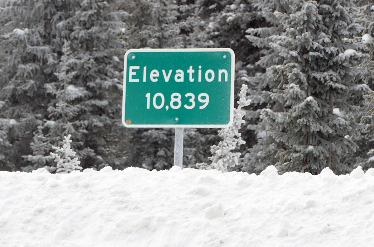 Elevation sign by the County Line trailhead.