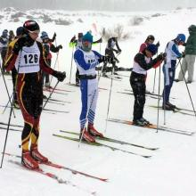 Racers lined up for GMNC cross country ski race at Skyway on Grand Mesa.