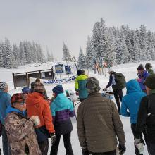 Cross country ski race start on Grand Mesa.