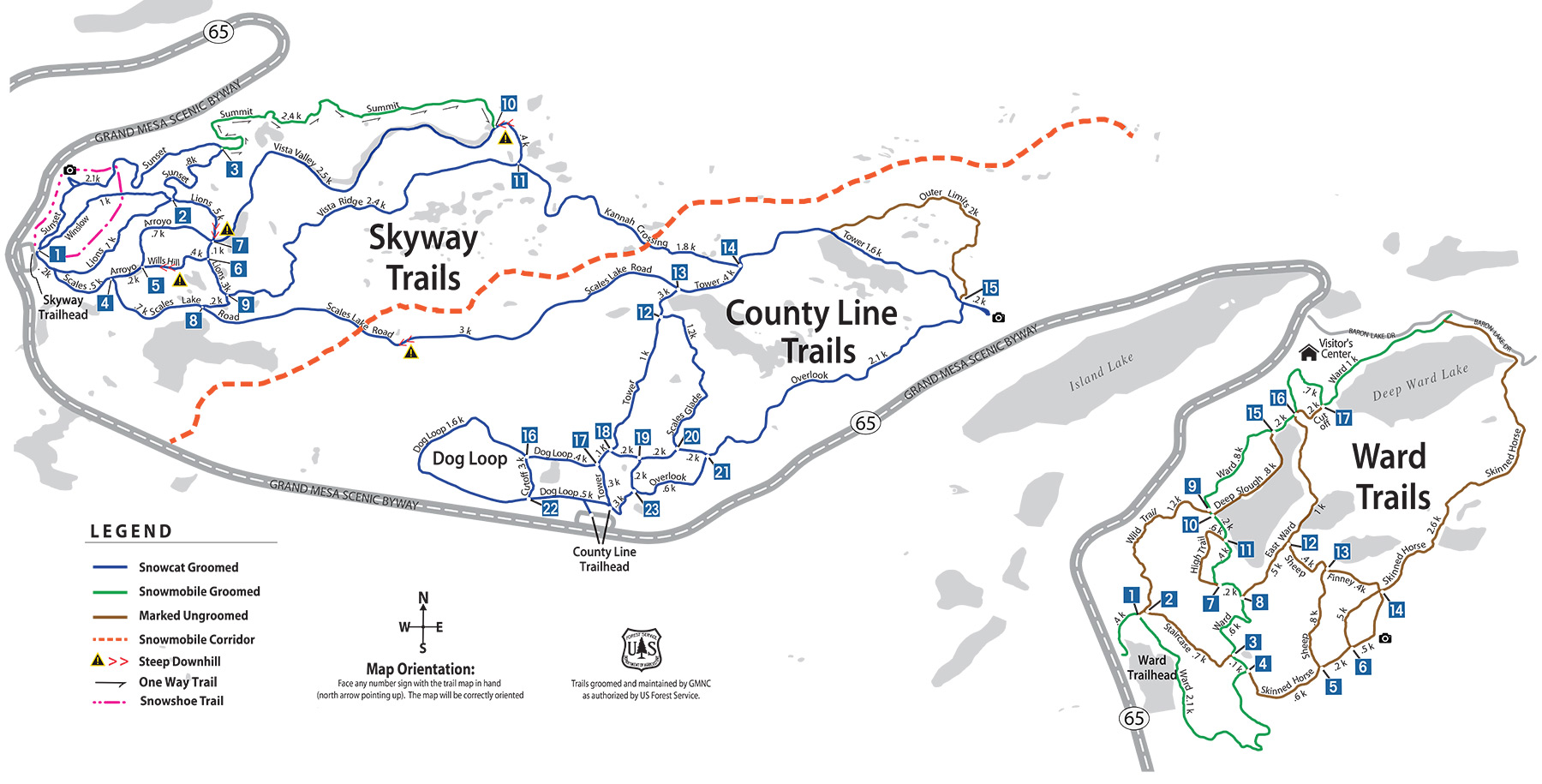 Grand Mesa Nordic Council cross country ski trails map for Grand Mesa in western Colorado.