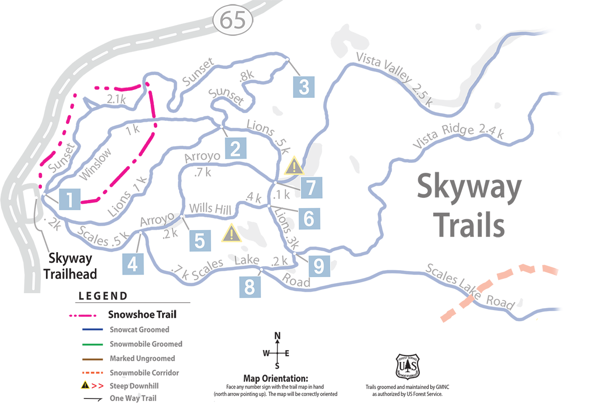 Grand Mesa Nordic Council snowshoe trails map for Grand Mesa in western Colorado.